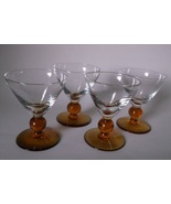 Vintage Amber Glass Ball Stem Wine Goblets Clear Bowl SET OF FOUR  - $29.98