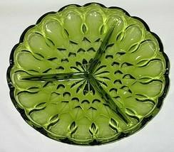 Anchor Hocking Fairfield Pattern Avocado Green 3-Part Relish Dish - $6.88