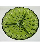 Anchor Hocking Fairfield Pattern Avocado Green 3-Part Relish Dish - $6.88