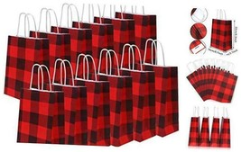 20 Pieces Red and Black Plaid Paper Party Bags Gift Bag Christmas Bag Bi... - $19.53