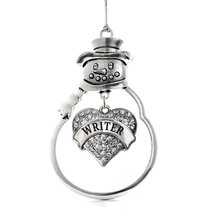 Inspired Silver Writer Pave Heart Snowman Holiday Christmas Tree Ornament With C - $14.69