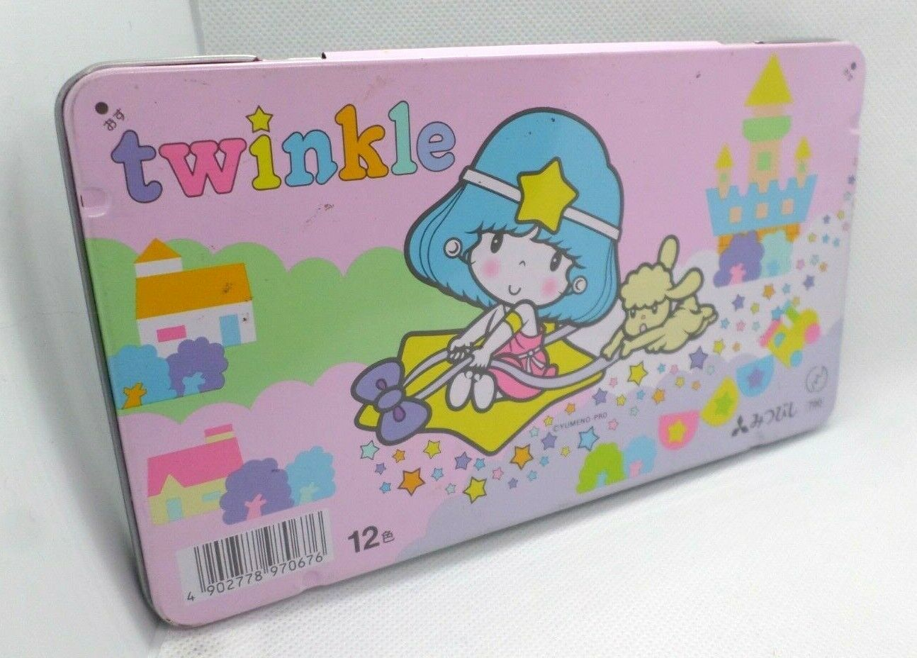 Mitsubishi Colored Pencils 12pc Pink Twinkle Tin 1988 Sanrio Style Pastel 80's