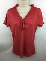 Lauren Ralph Lauren Light Red Ruffle Short Sleeve Lace Up Top Size M - $14.01