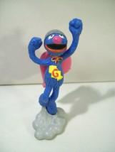 Vintage Sesame Street Muppets Super Grover Pvc Figure Applause Superhero - $14.65