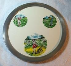 Vintage Retro Ladies Golfing Serving Tray Pottery Aluminum Holder Maybe ... - $4.95