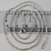 18K WHITE GOLD CHAIN MINI 1.5 MM ROLO OVAL MIRROR LINK 17.70 INCH. MADE IN ITALY image 1