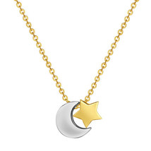 14k Two-tone Gold Star and Moon Sliding Charm Necklace - $112.00
