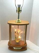 Vintage Mid Century Modern Wooden Glass Table Lamp Flowers 1980s Adjusta... - $99.95