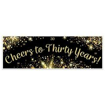 Black And Gold Cheers To Thirty Years Banner Party Decoration Backdrop - $28.22