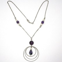 SILVER 925 NECKLACE, AMETHYST PURPLE, TRIPLE CIRCLE PENDANT, MILLED image 2