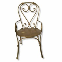 """Vintage Metal Ice Cream Parlor Heart Back Chair 13.5"""" Tall Good Condition - $39.50"""