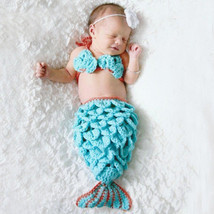 Knit Crochet Mermaid Dress Costume for Photo Prop Outfit Gift for Baby Girl - $11.90