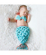 Knit Crochet Mermaid Dress Costume for Photo Prop Outfit Gift for Baby Girl - £8.77 GBP