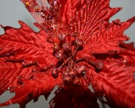 Unbranded Red Poinsettia Lace Velvet Pedals Holly Berries Pick image 5