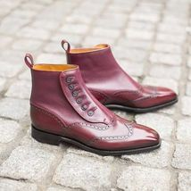 Handmade Men's Maroon Leather Wing Tip Brogues High Ankle Buttons Boot image 5