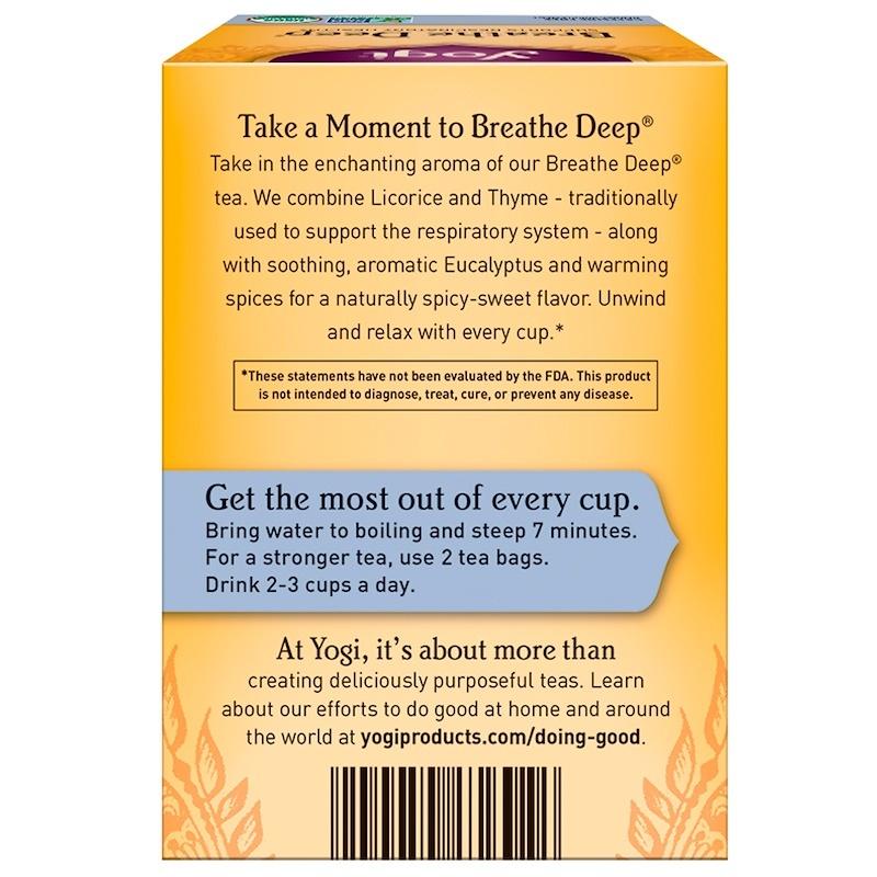 Yogi Tea, Organic, Breathe Deep, Caffeine Free, 16 Tea Bags, 1.12 oz (32 g)