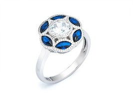 18K VERMEIL-Art Deco Sapphire + Clear 5A Round+Marquis Cubic Zirconia Ri... - $39.99