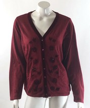 Croft & Barrow Cardigan Sweater Large Red Beaded Velour Trim Button Up Womens - $13.45