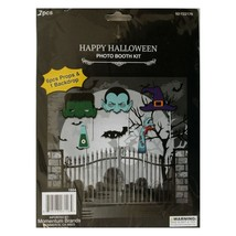 MB*7pc PHOTO BOOTH KIT Party Supplies HALLOWEEN Props+Backdrop MONSTERS+... - $4.49