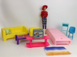Barbie Doll Mattel Lot Mod Retro Set Living Room Couch Chair bed TV Stan... - $39.55
