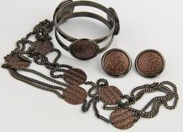 80s VINTAGE MONET Jewelry PARURE SET NECKLACE BRACELET EARRINGS GUN META... - $93.75