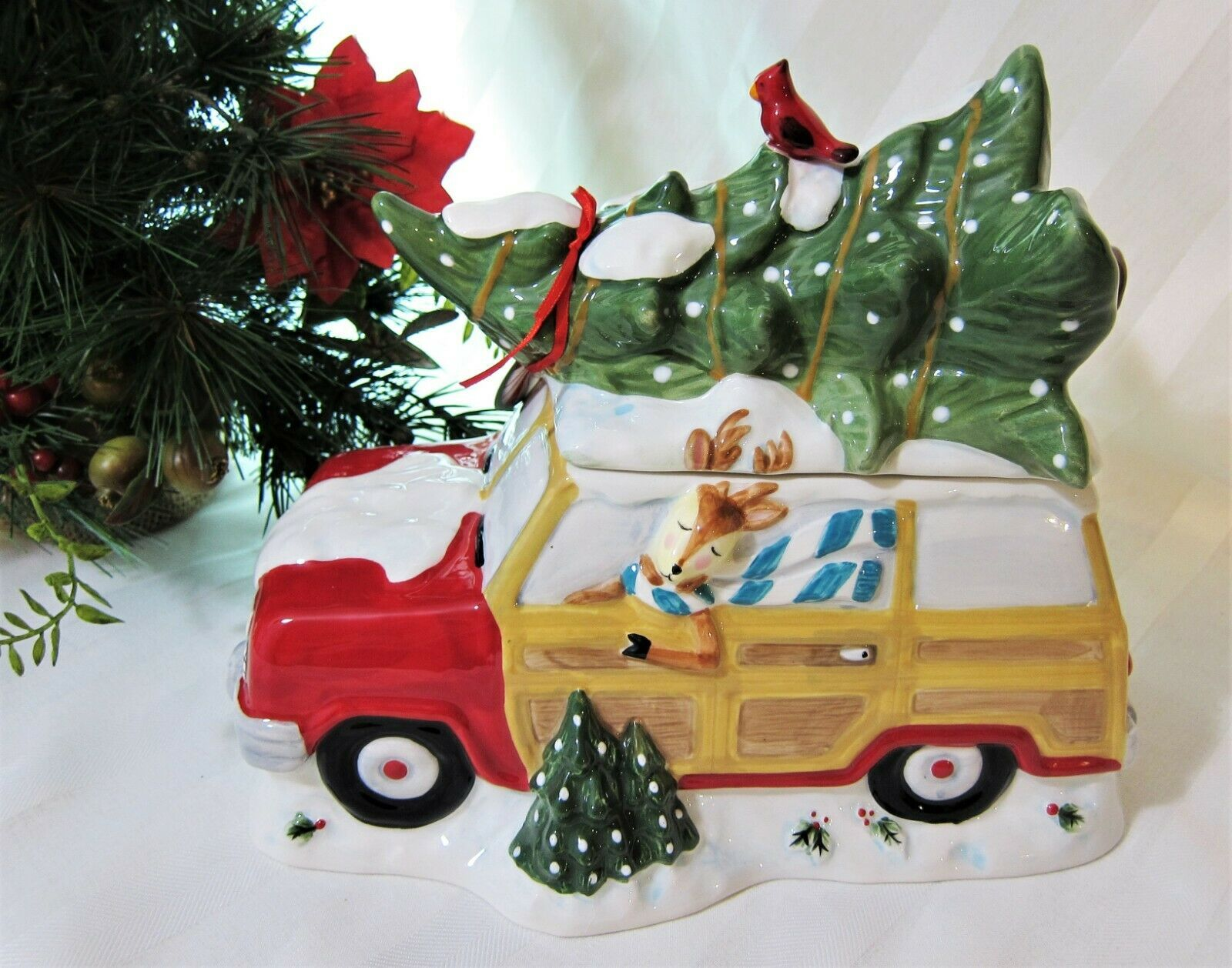 Primary image for Blue Sky Red Station Wagon Cardinal Reindeer Christmas Tree Ceramic Cookie Jar