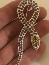 Vintage Snake Brooch 925 Sterling Silver Genuine Stone Pin - $130.93