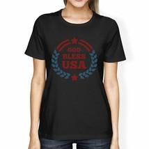 God Bless USA American Flag Shirt Womens Black 4th Of July T Shirt - $19.26
