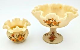 Fenton Custard Satin Ruffled Rim Bride's Bowl Candy Dish Handpainted Signed - $115.00