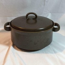 Mid Century Brown Covered Casserole Dish 8 Inch Diameter - $24.18