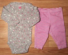Girl's Size NB Newborn 2 Pc Carter's Gray/ Pink Floral L/S Top, Striped ... - $12.00