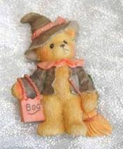 Cute Festive Halloween Witch Trick Treat Bear Brooch 1990s vintage - $14.80
