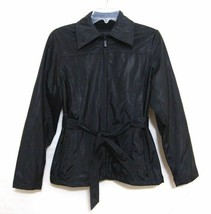 EXPRESS Vintage 80s Jacket Black Belt Fleece Lined Zip Up Buttons Women XS - $33.66