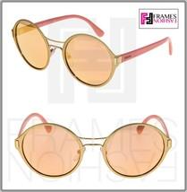 PRADA MOD Round PR57TS Pink Matte Gold Mirrored Metal Sunglasses 57T Unisex - $207.90