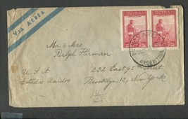 1951 Canceled Argentina Air Mail Envelope with 2 stamps SN:AR 494 agricu... - $7.50