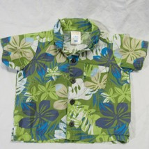 Old Navy Hawaiian Aloha Shirt Size Newborn Green Floral Plumaria - $19.99
