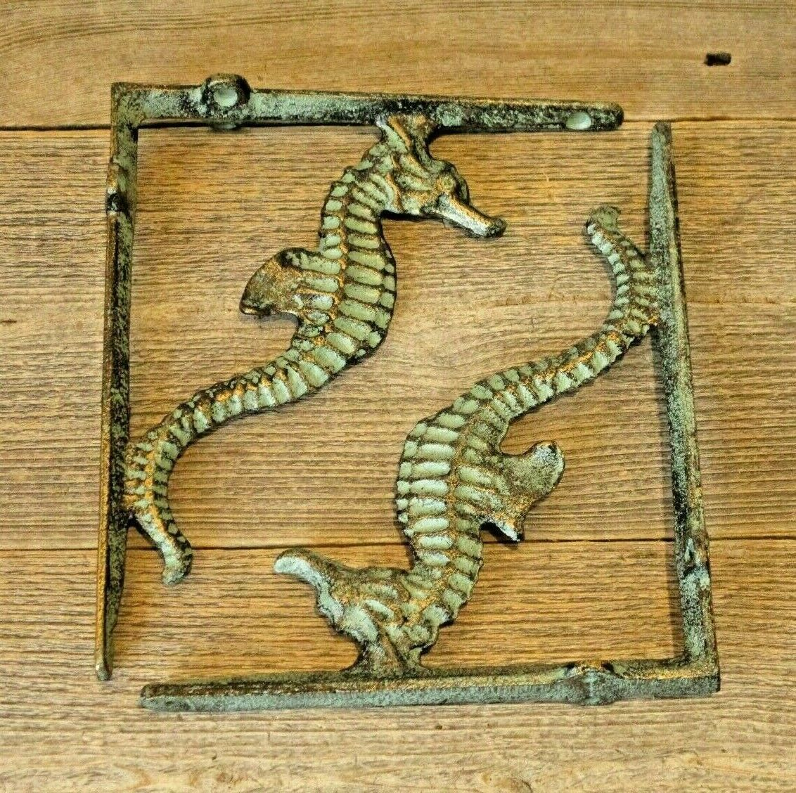 Primary image for 2 Cast Iron NAUTICAL SEAHORSE Brackets Garden Braces Shelf Bracket Book Beach
