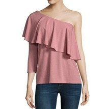 NWT Belle & Sky 3/4 Sleeve One Shoulder Ruffle Top Ash Rose With Siver S... - $8.90
