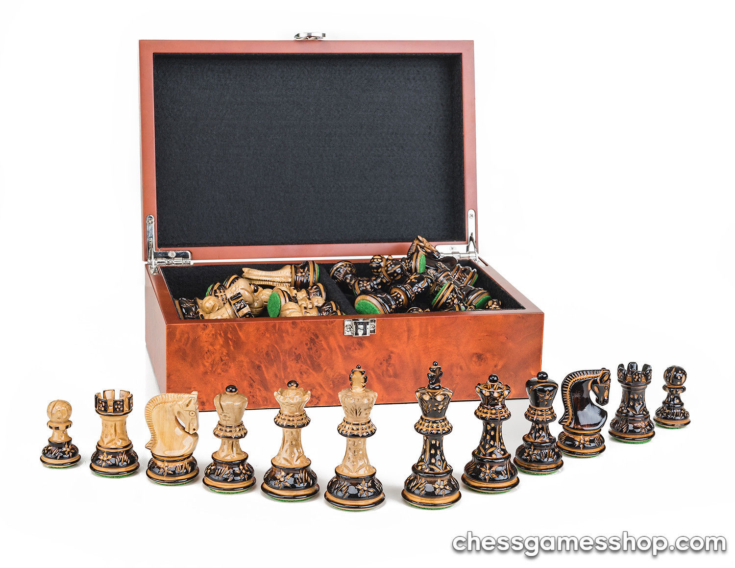 "Dubrovnik Zagreb ROYAL BURNT chess pieces - weighted, felted, 3.1"" IN BOX - $134.76"