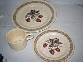 3-pc Homer Laughlin STRAWBERRY speckled brown Dinner Plate Salad Plate C... - $17.59