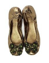 Nwob Tory Burch Azalea Skimmer Metallic Crackle Gold Beaded Bow Ballet Flats 7.5 - $179.86