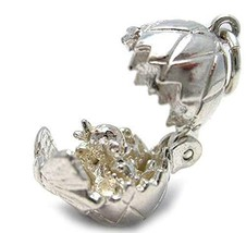 Welded Bliss Sterling 925 Silver Hen Chicken Family in Egg with Bow Char... - $29.40