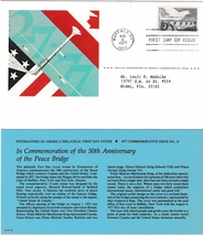 1977 USPS, 50th Anniversary of the Peace Bridge, 13 cent, 1st Day of Issue  - $3.00