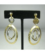Earrings CLIP ON Goldtone Vintage Circa 70 80 Hoops 2.25 inch Dangle Estate - $19.79
