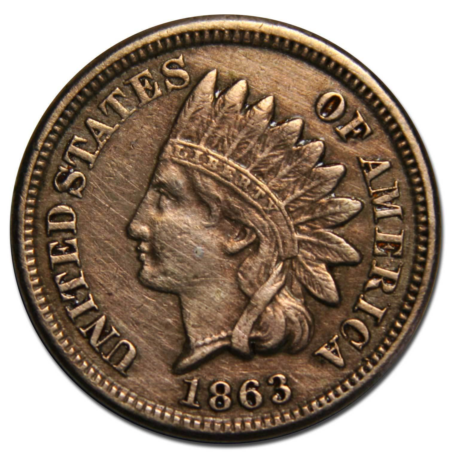 1863 One Cent Indian Head Penny Coin Lot# A 2177