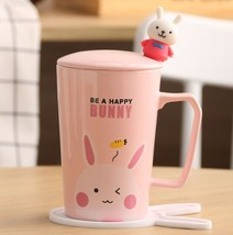 Be a Happy Bunny Pink Mugs Milk Tea Cup Drinkware + Cover Lid + Spoon + ... - $34.95