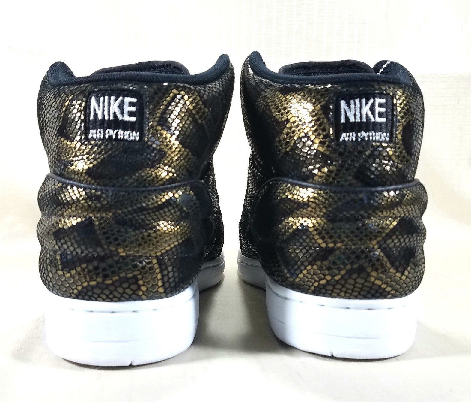 new concept 592af 1bdd0 Nike Air Python Premium Sneakers Men s Size 9 Black   Metallic Gold  705066-002