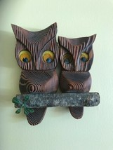 Vtg Mid Century Cryptomeria Carved Wood Owls On Branch Witco Style - $14.85