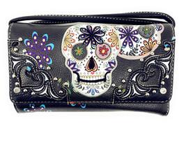 Western Rhinestone Flora Candy Skull Small Pouch Wallet for Women Crossbody - $15.99