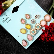 Jewdy® 6 Pairs/Set Colorful Flower Stone Stud Earrings Set For Women Fas... - $4.42